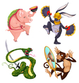 Pig rabbit snake and monkey vector image vector image