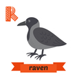 Raven R letter Cute children animal alphabet in