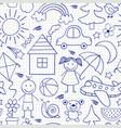 seamless pattern with kids drawings in blue color vector image vector image