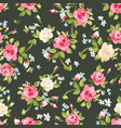 seamless pattern with pink and white roses on vector image vector image