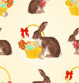 Seamless texture easter hare with wicker basket vector image vector image