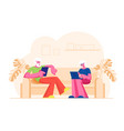 senior married couple sitting on couch using vector image vector image