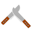 silver knifes on white background vector image vector image