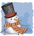 Snowman on a blue vector image