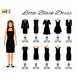 stylish woman character in little black dress set vector image vector image