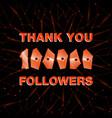 thank you 100000 followers thanks banner follower vector image