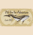 travel banner with big whale and world map vector image