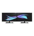 two desktop monitors full hd aspect ratio 16 9 vector image