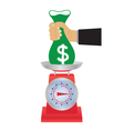 Hand with a bag of money on the scales vector image