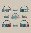 silhouettes of headphones with text vector image