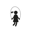 Silhouettes girl jumping rope stick figure vector image