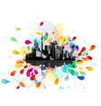 Abstract sky with floating city scape vector image vector image