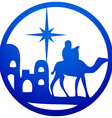 adoration magi silhouette icon blue white vector image