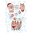 calendar with pigs in christmas costumes vector image vector image