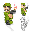 Captain Army Aiming a Handgun with Shoot Pose vector image