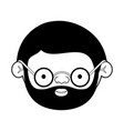 caricature face elderly man with beard and glasses vector image