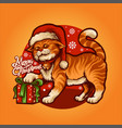 cartoon cute cat merry christmas with gift vector image