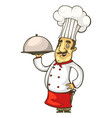 cheerful cook in a red apron and tie vector image vector image