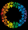 colorful laurel wreath frame isolated on black vector image vector image