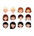 cute little girls head with different hairstyles vector image vector image