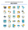 delivery flat line icon set - business concept vector image vector image