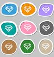 Diamond Icon symbols Multicolored paper stickers vector image vector image