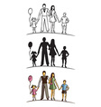 family silhouette on white background vector image vector image