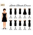 fashion woman model character in little black vector image vector image