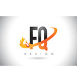 fq f q letter logo with fire flames design and vector image