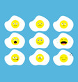 fried egg icon emoji set funny kawaii cartoon vector image