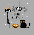 funny hand drawn happy halloween card vector image