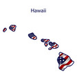 hawaii full american flag waving in wind vector image vector image