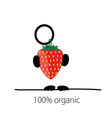holding strawberry organic color vector image vector image