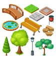 isometric summer park landscape elements set vector image