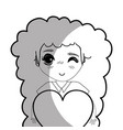 line pretty girl with heart in the hand vector image vector image