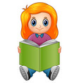 little girl cartoon reading a book vector image vector image