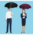 Men and woman with umbrella isolated concept vector image vector image