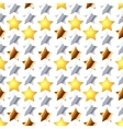 metallic stars on white seamless pattern vector image vector image