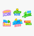 mini boss banners or labels set kids design vector image vector image