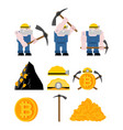 mining bitcoin set minir extraction crypto vector image vector image