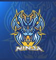 ninja head esport logo design with modern concept vector image