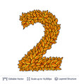 number two of autumn leaves vector image