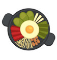 pan with fried egg and vegetables restaurant vector image vector image