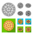 pizza with meat cheese and other filling vector image vector image