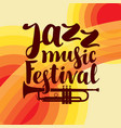 poster for jazz festival live music with trumpet vector image vector image