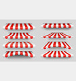 red and white sunshade outdoor awnings for cafe vector image vector image