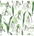seamless floral decorative pattern with snowdrops vector image vector image