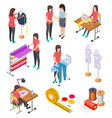 sewing factory isometric set textile clothing vector image