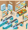supermarket isometric design concept vector image vector image