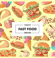 tasty fast food poster with takeaway menu vector image